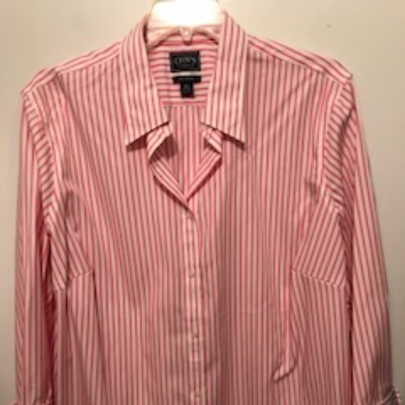 13b38ea6a23 Chaps Tops - Pink   White Striped Button Down Shirt - Plus size